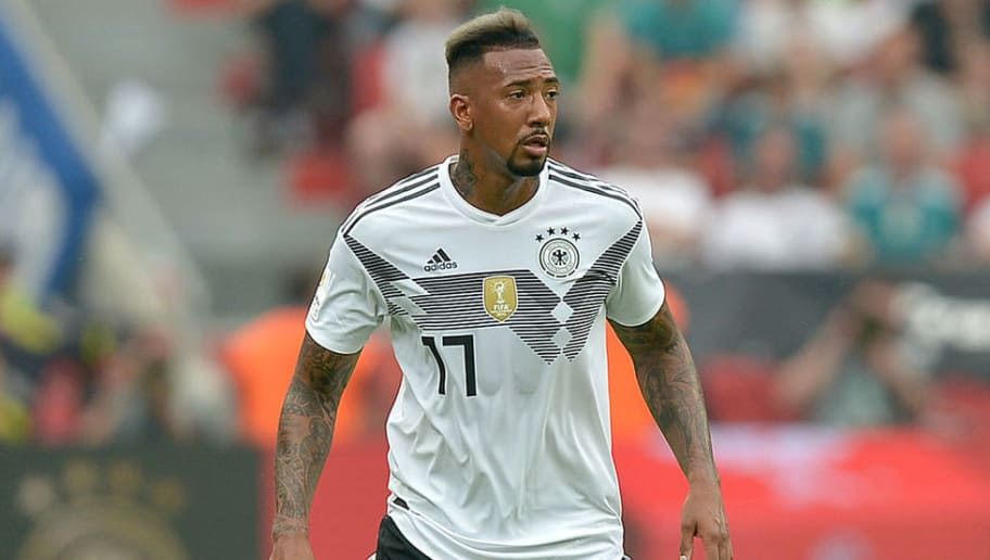 LEVERKUSEN, GERMANY - JUNE 08: Jerome Boateng of Germany controls the ball during the international friendly match between Germany and Saudi Arabia at BayArena on June 8, 2018 in Leverkusen, Germany. (Photo by TF-Images/Getty Images)