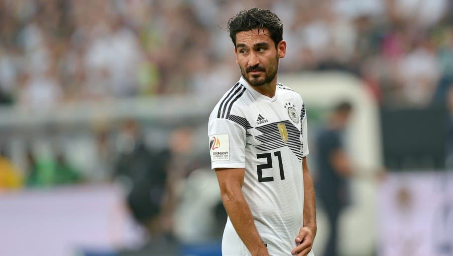 LEVERKUSEN, GERMANY - JUNE 08: İlkay Gündoğan of Germany looks on during the international friendly match between Germany and Saudi Arabia at BayArena on June 8, 2018 in Leverkusen, Germany. (Photo by TF-Images/Getty Images)