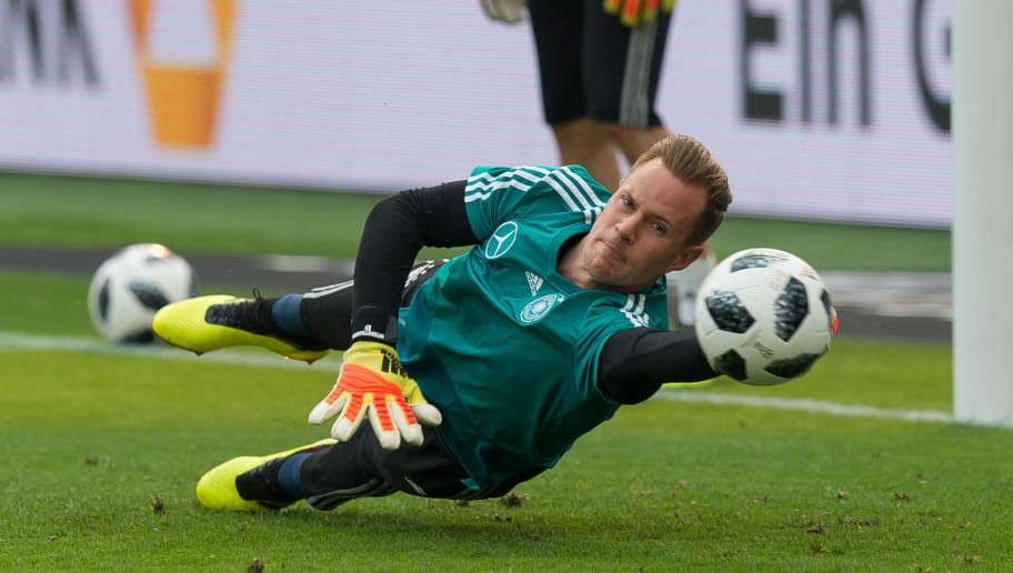 LEVERKUSEN, GERMANY - JUNE 08:  Marc-Andre ter Stegen of Germany in action during the international friendly match between Germany and Saudi Arabia at BayArena on June 8, 2018 in Leverkusen, Germany. (Photo by TF-Images/Getty Images)