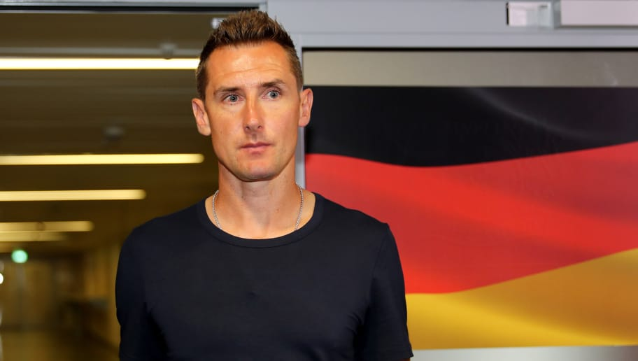 LEVERKUSEN, GERMANY - JUNE 08: Coach Miroslav Klose of Germany is seen in the mixed zone after the International friendly match between Germany and Saudi Arabia at BayArena on June 8, 2018 in Leverkusen, Germany. (Photo by Christof Koepsel/Bongarts/Getty Images)