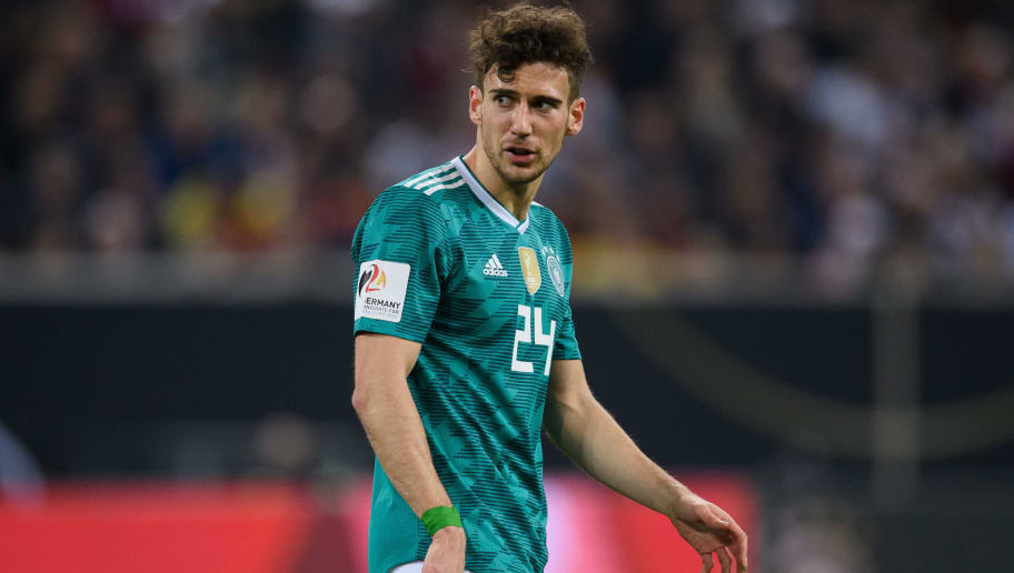 DUESSELDORF, GERMANY - MARCH 23: Leon Goretzka of Germany gestures during the international friendly match between Germany and Spain at Esprit-Arena on March 23, 2018 in Duesseldorf, Germany. (Photo by Matthias Hangst/Bongarts/Getty Images)