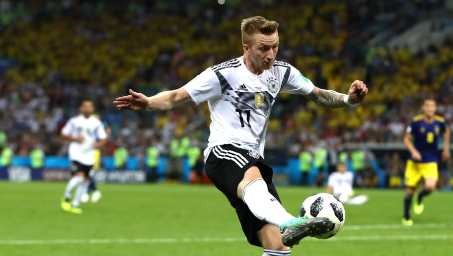 SOCHI, RUSSIA - JUNE 23:  Marco Reus of Germany in action during the 2018 FIFA World Cup Russia group F match between Germany and Sweden at Fisht Stadium on June 23, 2018 in Sochi, Russia.  (Photo by Dean Mouhtaropoulos/Getty Images)