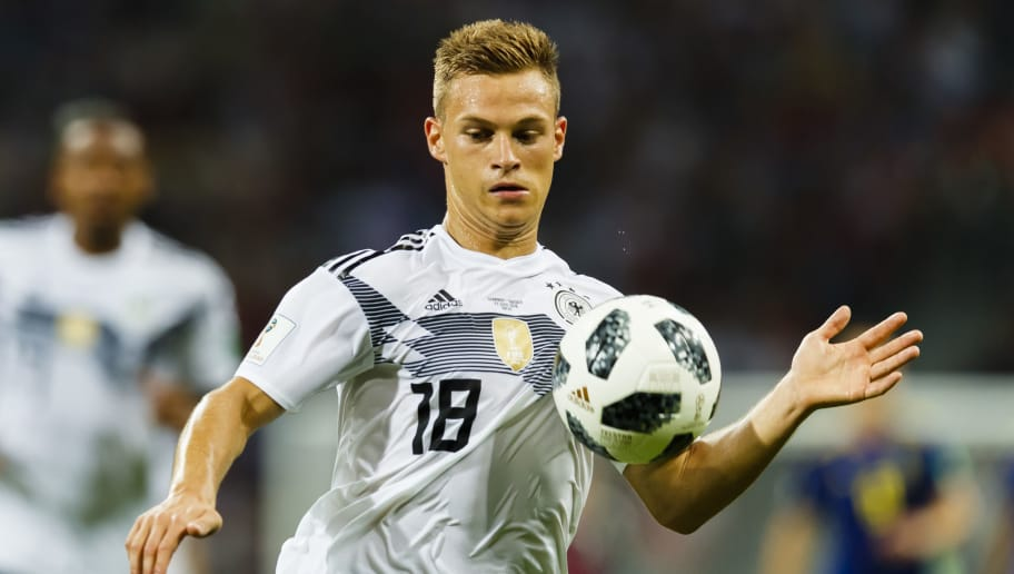 SOCHI, RUSSIA - JUNE 23: Joshua Kimmich #18 of Germany focused on the ball during the 2018 FIFA World Cup Russia group F match between Germany and Sweden at Fisht Stadium on June 16, 2018 in Sochi, Russia. (Photo by Daniel Malmberg/Getty Images)