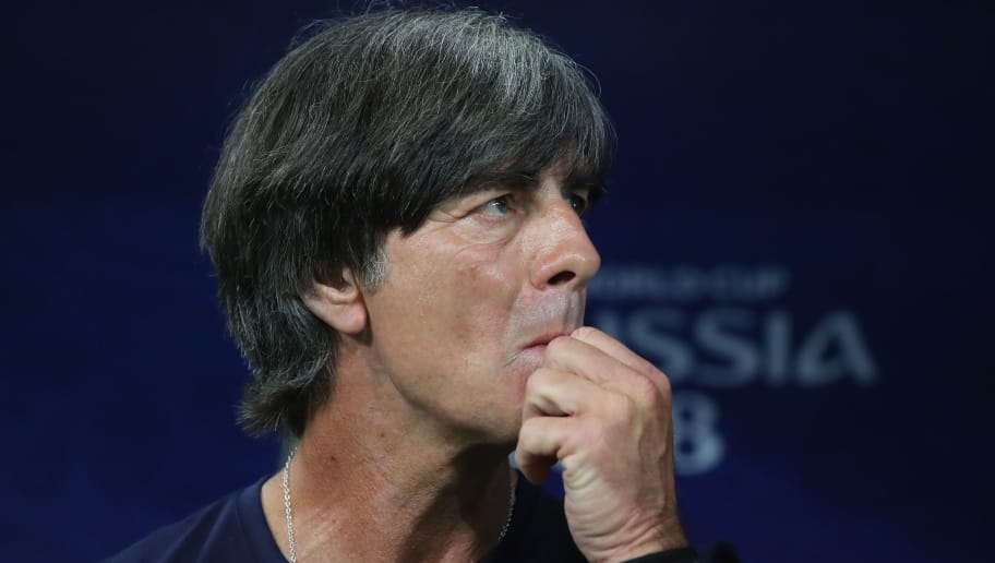 SOCHI, RUSSIA - JUNE 23:  Joachim Loew, head coach  of Germany looks during the 2018 FIFA World Cup Russia group F match between Germany and Sweden at Fisht Stadium on June 23, 2018 in Sochi, Russia.  (Photo by Alexander Hassenstein/Getty Images)