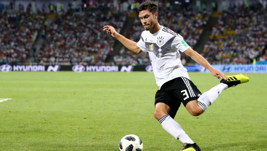 SOCHI, RUSSIA - June 23: Jonas Hector #3 of Germany during the 2018 FIFA World Cup Russia group F match between Germany and Sweden at Fisht Stadium on June 23, 2018 in Sochi, Russia. (Photo by Maddie Meyer/Getty Images)