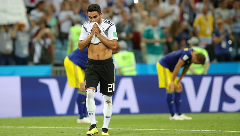 SOCHI, RUSSIA - JUNE 23:  Ilkay Guendogan of Germany walks off after the 2018 FIFA World Cup Russia group F match between Germany and Sweden at Fisht Stadium on June 23, 2018 in Sochi, Russia.  (Photo by Alexander Hassenstein/Getty Images)