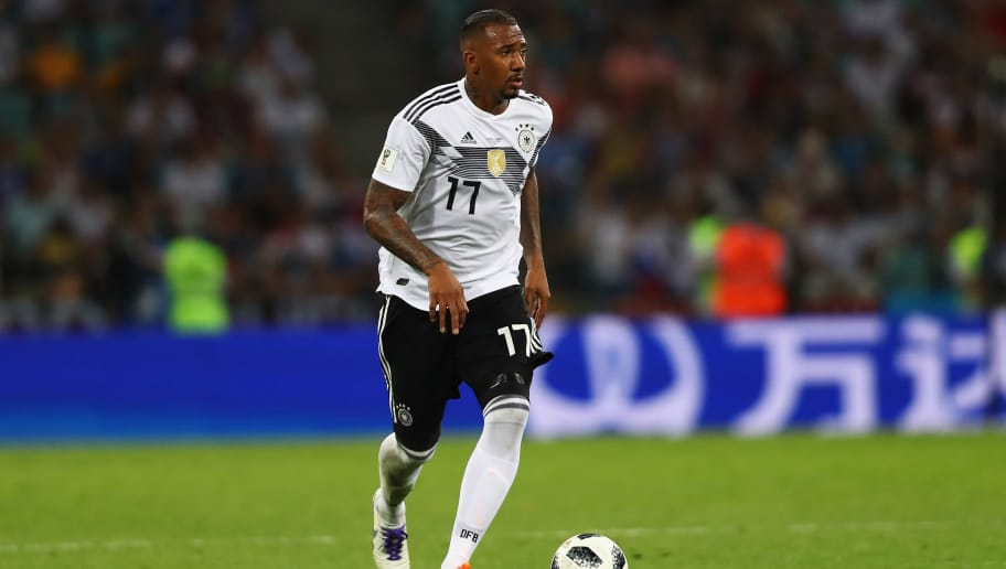 SOCHI, RUSSIA - JUNE 23:  Jerome Boateng of Germany in action during the 2018 FIFA World Cup Russia group F match between Germany and Sweden at Fisht Stadium on June 23, 2018 in Sochi, Russia.  (Photo by Dean Mouhtaropoulos/Getty Images)