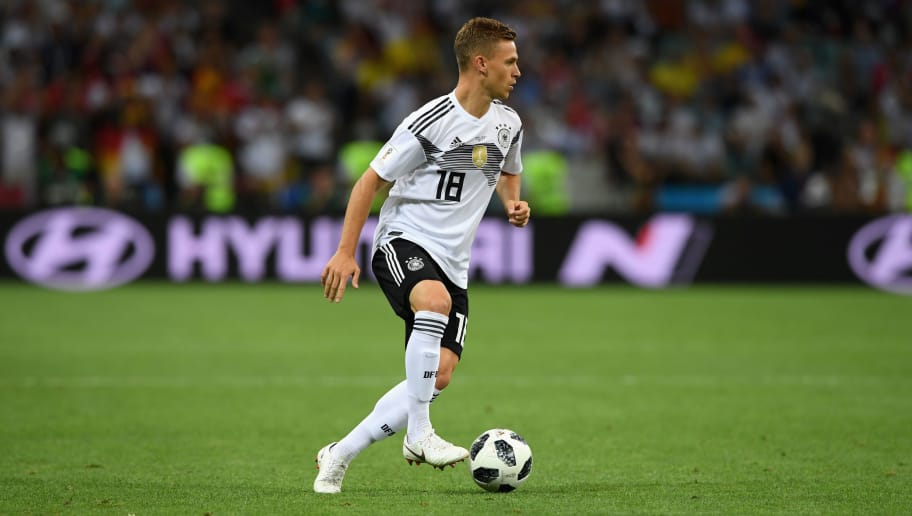 SOCHI, RUSSIA - JUNE 23:  Germany player Joshua Kimmich in action during the 2018 FIFA World Cup Russia group F match between Germany and Sweden at Fisht Stadium on June 23, 2018 in Sochi, Russia.  (Photo by Stu Forster/Getty Images)