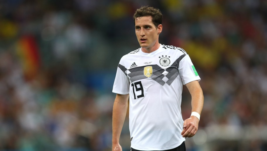 SOCHI, RUSSIA - JUNE 23:    Sebastian Rudy of Germany  in action during the 2018 FIFA World Cup Russia group F match between Germany and Sweden at Fisht Stadium on June 23, 2018 in Sochi, Russia. (Photo by Robbie Jay Barratt - AMA/Getty Images)