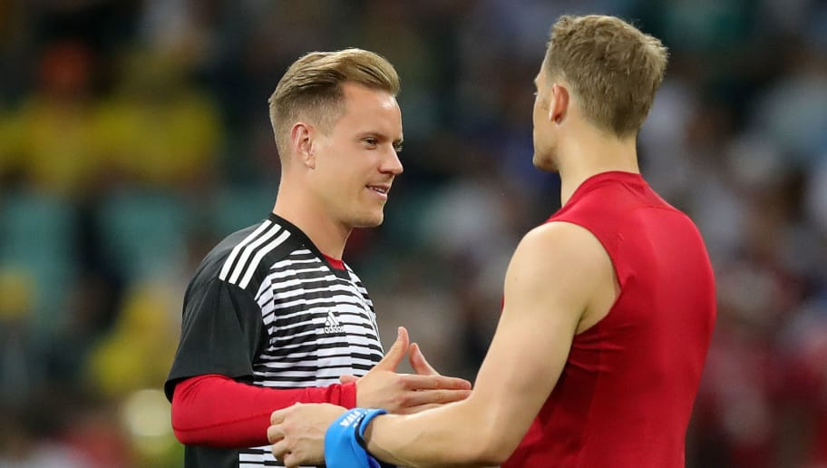 SOCHI, RUSSIA - JUNE 23:  Manuel Neuer of Germany celebrates victory with teammate Marc-Andre Ter Stegen during the 2018 FIFA World Cup Russia group F match between Germany and Sweden at Fisht Stadium on June 23, 2018 in Sochi, Russia.  (Photo by Alexander Hassenstein/Getty Images)