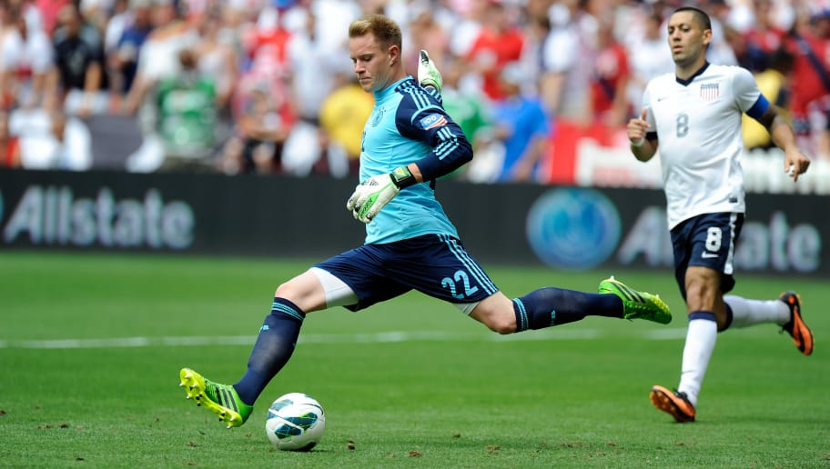 WASHINGTON, DC - JUNE 02:  Marc-Andreter Stegen #22 of the Germany Men's National Team clears the ball against the United States Men's National Team in an international friendly at RFK Stadium on June 2, 2013  in Washington, DC.  (Photo by Greg Fiume/Getty Images)