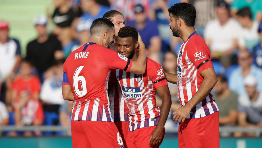 GETAFTE, SPAIN - SEPTEMBER 22: (L-R) Filipe Luis of Atletico Madrid, Koke of Atletico Madrid, Thomas Lemar of Atletico Madrid, Diego Costa of Atletico Madrid during the La Liga Santander  match between Getafe v Atletico Madrid at the Coliseum Alfonso Perez on September 22, 2018 in Getafte Spain (Photo by Jeroen Meuwsen/Soccrates/Getty Images)