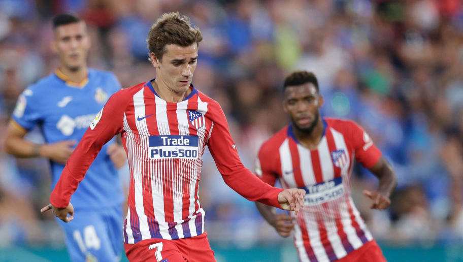 GETAFTE, SPAIN - SEPTEMBER 22: Antoine Griezmann of Atletico Madrid during the La Liga Santander  match between Getafe v Atletico Madrid at the Coliseum Alfonso Perez on September 22, 2018 in Getafte Spain (Photo by Jeroen Meuwsen/Soccrates/Getty Images)