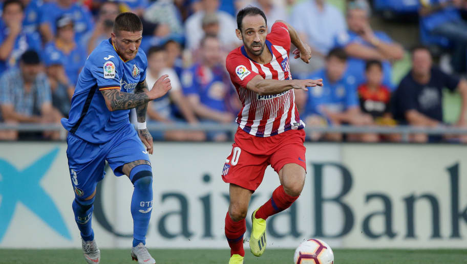 GETAFTE, SPAIN - SEPTEMBER 22: (L-R) Vitorino Antunes of Getafe CF, Juanfran of Atletico Madrid during the La Liga Santander  match between Getafe v Atletico Madrid at the Coliseum Alfonso Perez on September 22, 2018 in Getafte Spain (Photo by Jeroen Meuwsen/Soccrates/Getty Images)
