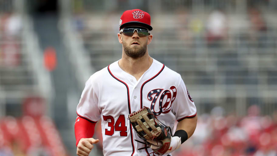 WASHINGTON, DC - JULY 22: Bryce Harper #34  of the Washington Nationals runs in from the outfield in the first inning Atlanta Braves at Nationals Park on July 22, 2018 in Washington, DC. (Photo by Rob Carr/Getty Images)
