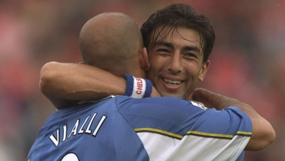 24 Aug 1997:  Gianluca Vialli of Chelsea (left) is congratulated by his team mate, Roberto Di Matteo during the FA Carling Premiership match against Barnsley at the Oakwell Ground in Barnsley, England. Chelsea won the game 0-6. \ Mandatory Credit: Ben Radford /Allsport
