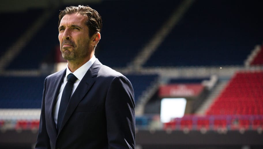 PARIS, FRANCE - JULY 09: The former Juventus and Italian goalkeeper Gianluigi Buffon attends the press conference announcing his arrival at the Paris Saint Germain (PSG) on July 9, 2018 in Paris, France. Gianluigi Buffon joined the Parisian team after 23 seasons in Italy, first at Parma and then at Juve. (Photo by Aurelien Morissard/IP3/Getty Images)