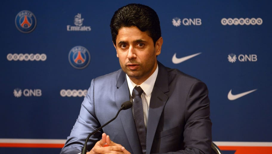 PARIS, FRANCE - JULY 09:  President of Paris Saint Germain Nasser Al-Khelaifi during the Italian Gianluiggi Buffon official presentation after signing for PSG at Parc des Princes on July 9, 2018 in Paris, France.  (Photo by Frederic Stevens/Getty Images)