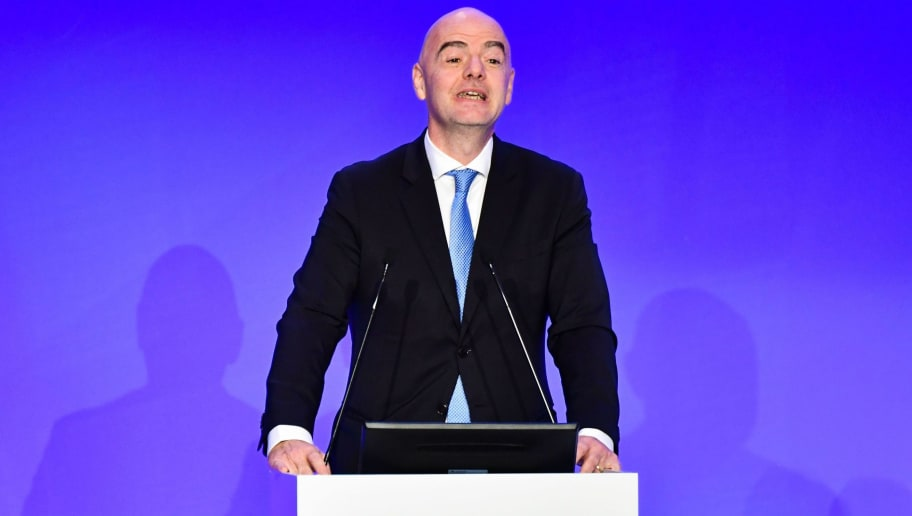 President of The Federation Internationale de Football Association (FIFA) Gianni Infantino delivers a speech during the elective assembly of the Italian Football Federation (FIGC) on October 22, 2018 at the Hilton hotel of Rome's Fiumicino airport. (Photo by Alberto PIZZOLI / AFP)        (Photo credit should read ALBERTO PIZZOLI/AFP/Getty Images)
