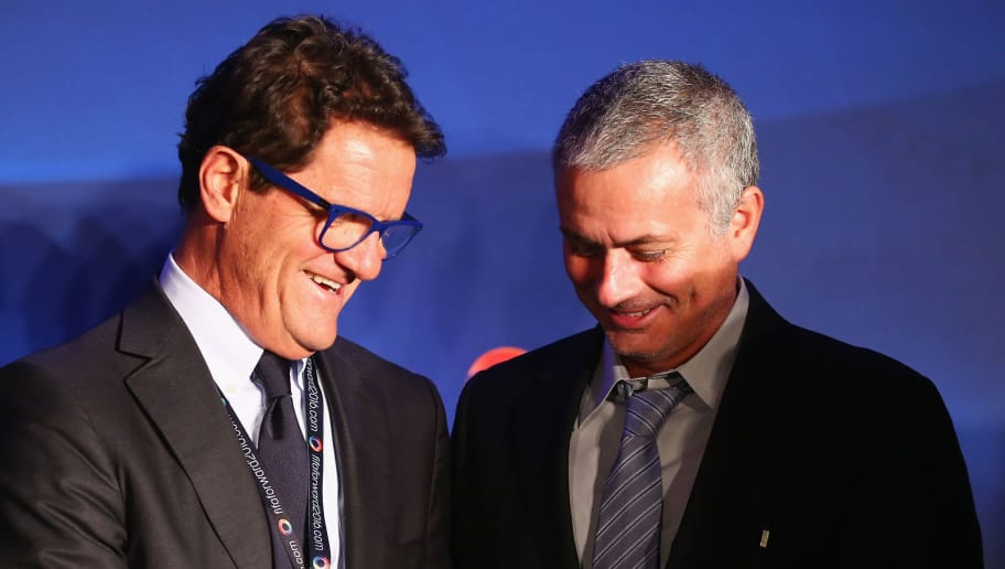 LONDON, ENGLAND - FEBRUARY 01:  Fabio Capello (L) gives a football to former Chelsea manager Jose Mourinho after a press conference by FIFA Presidential candidate Gianni Infantino at Wembley Stadium on February 1, 2016 in London, England.  (Photo by Clive Rose/Getty Images)