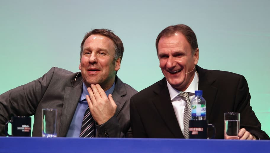 BOURNEMOUTH, ENGLAND - MARCH 19:  Paul Merson (l) and Phil Thompson answer questions during Gillette Soccer Saturday Live with Jeff Stelling on March 19, 2012 at the Bournemouth International Centre in Bournemouth, England.  (Photo by Bryn Lennon/Getty Images)