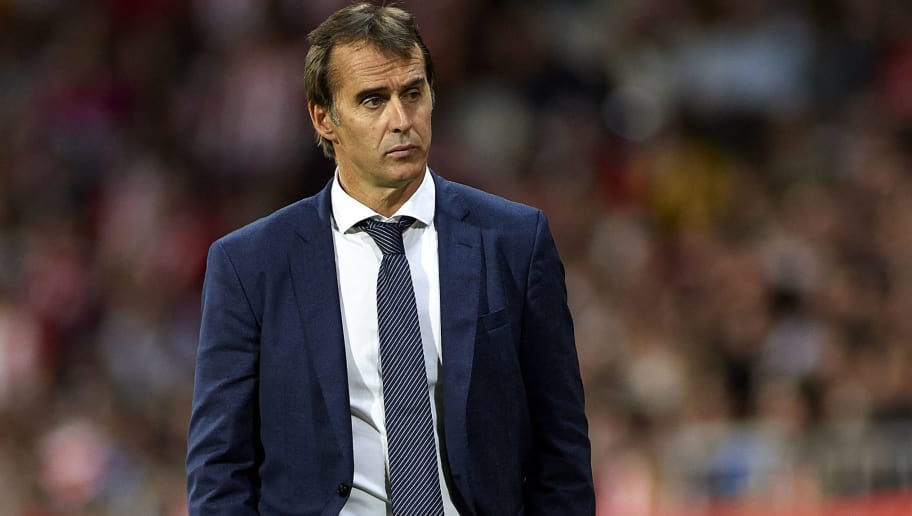 GIRONA, SPAIN - AUGUST 26:  Julen Lopetegui, Manager of Real Madrid looks on during the La Liga match between Girona FC and Real Madrid CF at Montilivi Stadium on August 26, 2018 in Girona, Spain.  (Photo by Quality Sport Images/Getty Images)