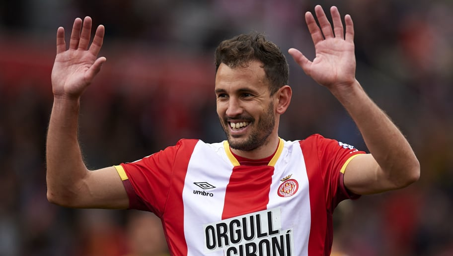 GIRONA, SPAIN - MARCH 31:  Cristhian Stuani of Girona celebrates during the La Liga match between Girona and Levante at Estadio Montilivi on March 31, 2018 in Girona, Spain.  (Photo by Quality Sport Images/Getty Images)