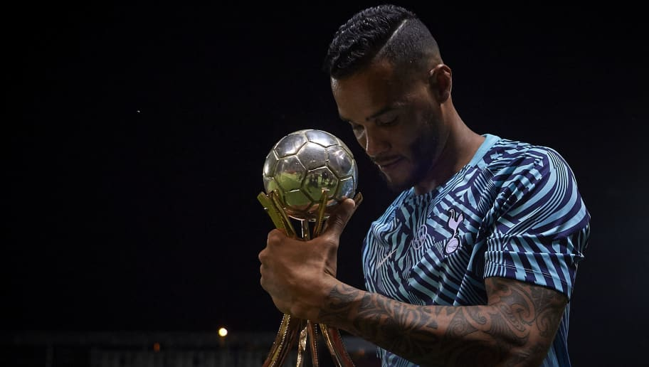 GIRONA, SPAIN - AUGUST 04:  Michel Vorm of Tottenham Hotspur holds a second place trophy at the end of the pre-season friendly match between Girona and Tottenham Hotspur at Municipal de Montilivi Stadium on August 4, 2018 in Girona, Spain.  (Photo by Quality Sport Images/Getty Images)