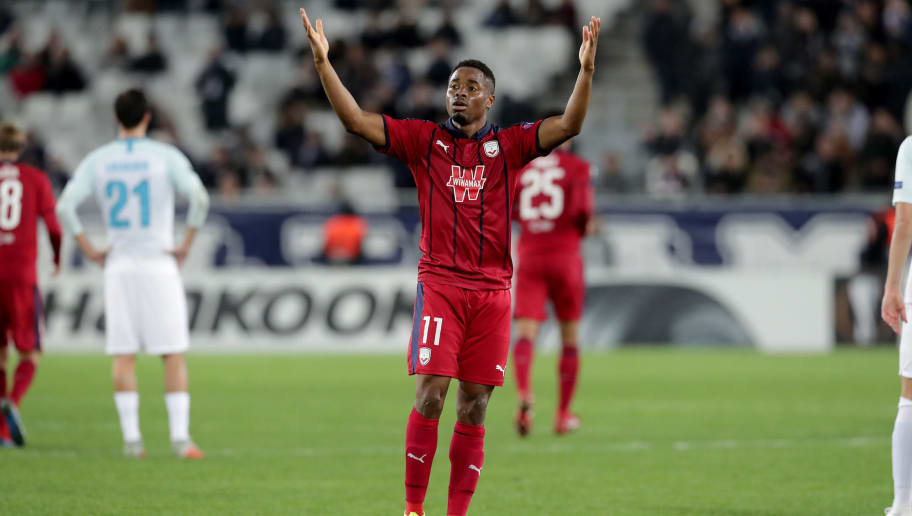BORDEAUX, FRANCE - NOVEMBER 08:  Francois Kamano of Bordeaux reacts after his goal during the UEFA Europa League Group C match between Girondins de Bordeaux and Zenit Saint Petersburg at Stade Matmut Atlantique on November 8, 2018 in Bordeaux, France.  (Photo by Romain Perrocheau/Getty Images)