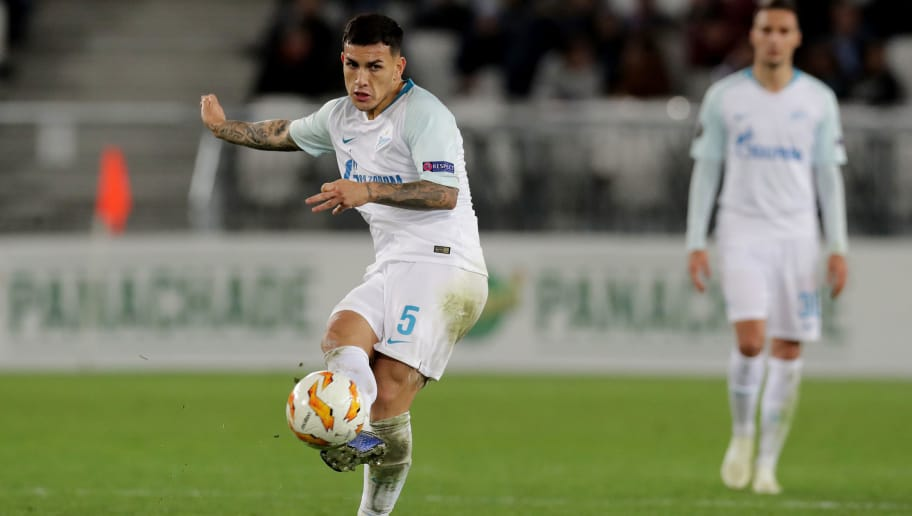 BORDEAUX, FRANCE - NOVEMBER 08:  Leandro Paredes of Zenit Saint Petersburg in action during the UEFA Europa League Group C match between Girondins de Bordeaux and Zenit Saint Petersburg at Stade Matmut Atlantique on November 8, 2018 in Bordeaux, France.  (Photo by Romain Perrocheau/Getty Images)