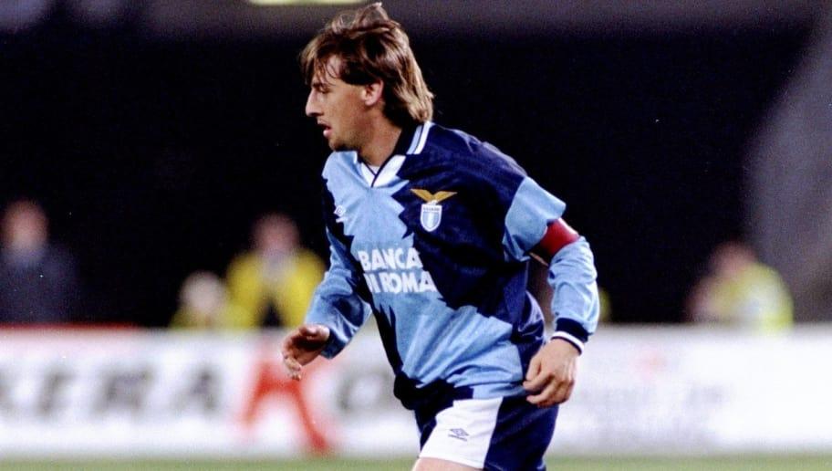 11 Apr 1995:  Giuseppe Signori of Lazio SS in action during a match against Juventus at the Delle Alpi Stadium in Turin, Italy. Juventus won the match 2-1. \ Mandatory Credit: Allsport UK /Allsport