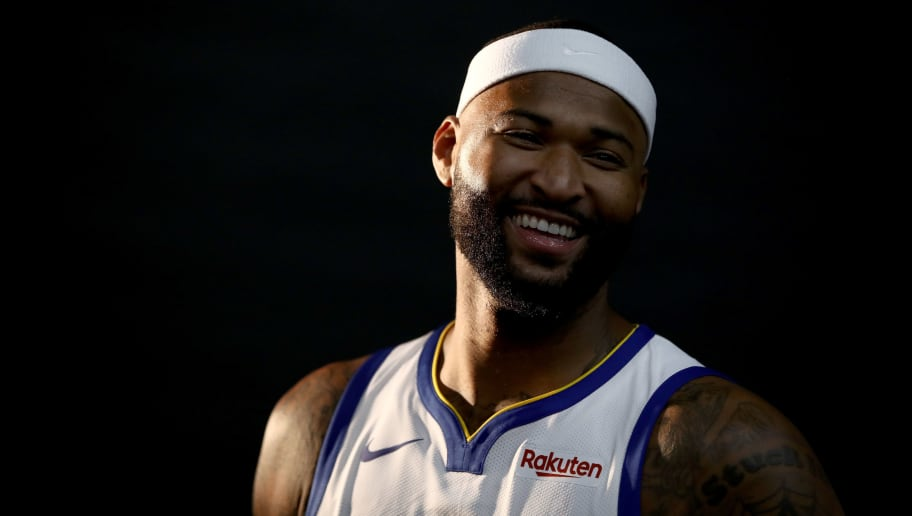 OAKLAND, CA - SEPTEMBER 24:  DeMarcus Cousins #0 of the Golden State Warriors poses for a picture during the Golden State Warriors media day on September 24, 2018 in Oakland, California.  (Photo by Ezra Shaw/Getty Images)
