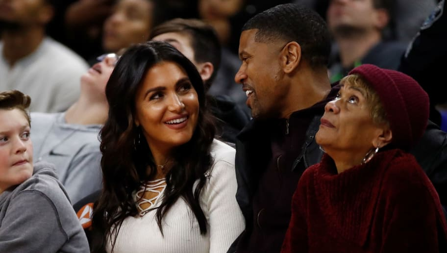 AUBURN HILLS, MI - DECEMBER 23: Molly Qerim and Jalen Rose of ESPN watch the Golden State Warriors play the Golden State Warriors at the Palace of Auburn Hills on December 23, 2016 in Auburn Hills, Michigan. NOTE TO USER: User expressly acknowledges and agrees that, by downloading and or using this photograph, User is consenting to the terms and conditions of the Getty Images License Agreement.  (Photo by Gregory Shamus/Getty Images)