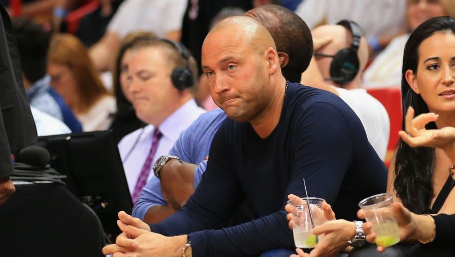 MIAMI, FL - DECEMBER 03:  Derek Jeter attends an NBA game between the Miami Heat and the Golden State Warriors at American Airlines Arena on December 3, 2017 in Miami, Florida. NOTE TO USER: User expressly acknowledges and agrees that, by downloading and or using this photograph, User is consenting to the terms and conditions of the Getty Images License Agreement.  (Photo by Christopher Trotman/Getty Images)