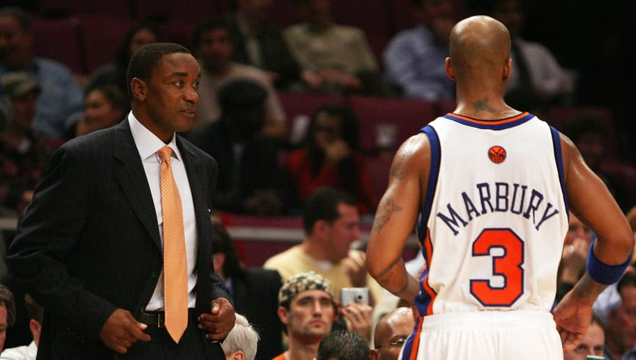 NEW YORK - NOVEMBER 20:  Head coach Isiah Thomas of the New York Knicks talks with Stephon Marbury #3 against the Golden State Warriors at Madison Square Garden on November 20, 2007 in New York City.  NOTE TO USER: User expressly acknowledges and agrees that, by downloading and/or using this Photograph, user is consenting to the terms and conditions of the Getty Images License Agreement.  (Photo by Nick Laham/Getty Images)