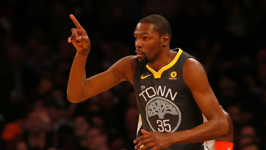 NEW YORK, NY - FEBRUARY 26:  (NEW YORK DAILIES OUT)    Kevin Durant #35 of the Golden State Warriors in action against the New York Knicks at Madison Square Garden on February 26, 2018 in New York City. The Warriors defeated the Knicks 125-111. NOTE TO USER: User expressly acknowledges and agrees that, by downloading and/or using this Photograph, user is consenting to the terms and conditions of the Getty Images License Agreement.  (Photo by Jim McIsaac/Getty Images)
