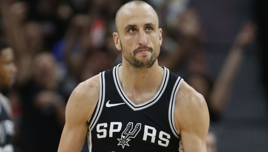 SAN ANTONIO,TX - APRIL 22 :  Manu Ginobili #20 of the San Antonio Spurs reacts after a basket against the Golden State Warriors in the second half of Game Four of Round One of the 2018 NBA Playoffs  at AT&T Center on April 22 , 2018  in San Antonio, Texas.  NOTE TO USER: User expressly acknowledges and agrees that , by downloading and or using this photograph, User is consenting to the terms and conditions of the Getty Images License Agreement. (Photo by Ronald Cortes/Getty Images)