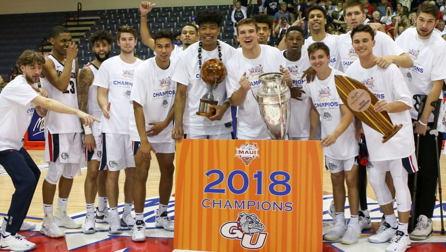 LAHAINA, HI - NOVEMBER 21: The Gonzaga Bulldogs players and coaches pose for a photo after winning the 2018 Maui Invitational against the Duke Blue Devils at the Lahaina Civic Center on November 21, 2018 in Lahaina, Hawaii.  (Photo by Darryl Oumi/Getty Images)