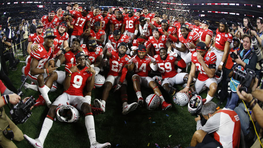 ARLINGTON, TX - DECEMBER 29: The Ohio State Buckeyes celebrate with a team photo following the 82nd Goodyear Cotton Bowl Classic between USC and Ohio State at AT&T Stadium on December 29, 2017 in Arlington, Texas. Ohio State won 24-7.  (Photo by Ron Jenkins/Getty Images)