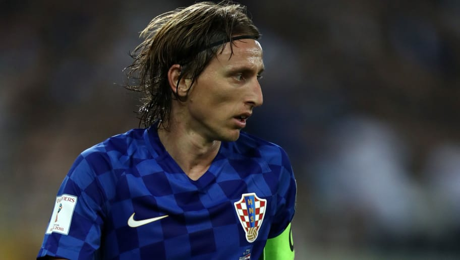PIRAEUS, GREECE - NOVEMBER 12: Luka Modric of Croatia during the FIFA 2018 World Cup Qualifier Play-Off: Second Leg between Greece and Croatia at Karaiskakis Stadium on November 12, 2017 in Piraeus, Greece. (Photo by Catherine Ivill/Getty Images)
