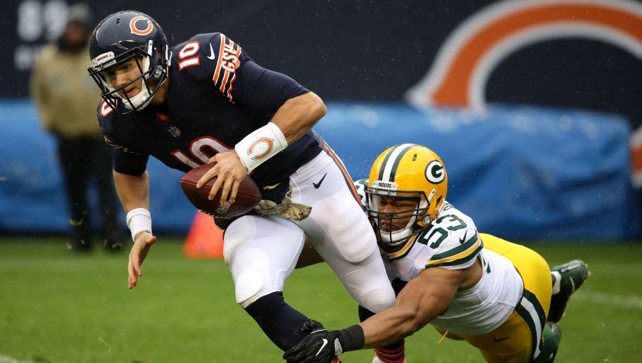 CHICAGO, IL - NOVEMBER 12:  Quarterback  Mitchell Trubisky #10 of the Chicago Bears is sacked by  Nick Perry #53 of the Green Bay Packers in the third quarter at Soldier Field on November 12, 2017 in Chicago, Illinois.  (Photo by Jonathan Daniel/Getty Images)