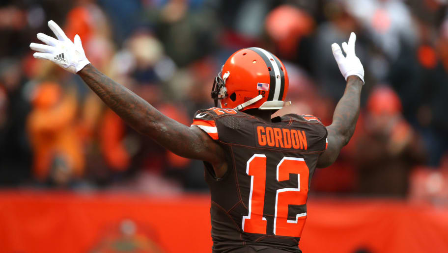 CLEVELAND, OH - DECEMBER 10: Josh Gordon #12 of the Cleveland Browns celebrates a touchdown in the first quarter against the Green Bay Packers at FirstEnergy Stadium on December 10, 2017 in Cleveland, Ohio. (Photo by Gregory Shamus/Getty Images)