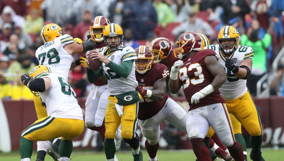 LANDOVER, MD - SEPTEMBER 23: Da'Ron Payne #95 of the Washington Redskins pressures quarterback Aaron Rodgers #12 of the Green Bay Packers in the second half at FedExField on September 23, 2018 in Landover, Maryland. (Photo by Rob Carr/Getty Images)