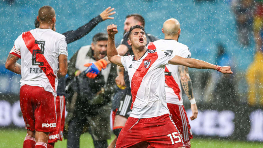 PORTO ALEGRE, BRAZIL - OCTOBER 30: Exequiel Palacios of River Plate celebrates with teammates after winning the match against Gremio as part of Copa Conmebol Libertadores 2018 at Arena do Gremio on October 30, 2018, in Porto Alegre, Brazil. (Photo by Lucas Uebel/Getty Images)