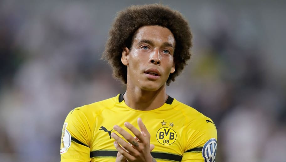 FUERTH, GERMANY - AUGUST 20:  Axel Witsel of Dortmund celebrates after winning  the DFB Cup first round match between SpVgg Greuther Fuerth and BVB Borussia Dortmund at Sportpark Ronhof Thomas Sommer on August 20, 2018 in Fuerth, Germany.  (Photo by Alexander Hassenstein/Bongarts/Getty Images)