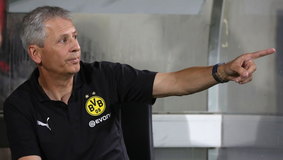 FUERTH, GERMANY - AUGUST 20:  Lucien Favre, head coach  of Dortmund reacts during the DFB Cup first round match between SpVgg Greuther Fuerth and BVB Borussia Dortmund at Sportpark Ronhof Thomas Sommer on August 20, 2018 in Fuerth, Germany.  (Photo by Alexander Hassenstein/Bongarts/Getty Images)