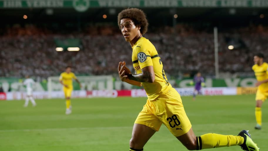 FUERTH, GERMANY - AUGUST 20:  Axel Witsel of Dortmund celebrates scoring the fisrt team goal during the DFB Cup first round match between SpVgg Greuther Fuerth and BVB Borussia Dortmund at Sportpark Ronhof Thomas Sommer on August 20, 2018 in Fuerth, Germany.  (Photo by Alexander Hassenstein/Bongarts/Getty Images)
