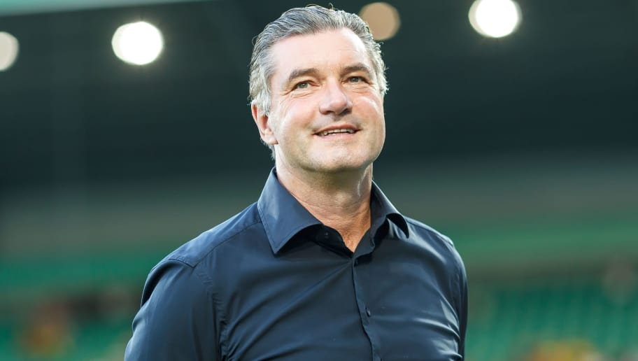 FUERTH, GERMANY - AUGUST 20: Michael Zorc of Dortmund looks on during the DFB Cup first round match between Greuther Fuerth and Borussia Dortmund at Sportpark Ronhof Thomas Sommer on August 20, 2018 in Fuerth, Germany. (Photo by TF-Images/Getty Images)