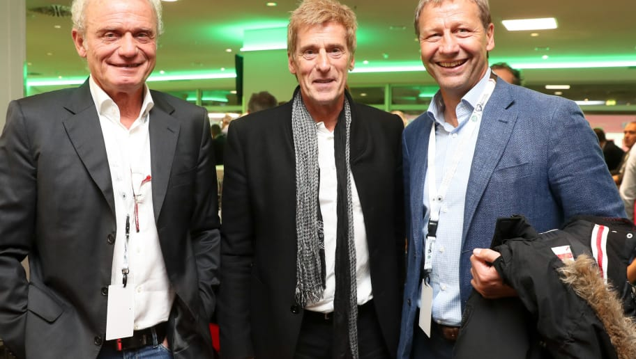 KAISERSLAUTERN, GERMANY - OCTOBER 08: Hans-Peter Briegel , Uli Stein and Guido Buchwald at the club of former national players meeting prior to / after the FIFA 2018 World Cup Qualifier between Germany and Azerbaijan at Fritz-Walter-Stadion on October 8, 2017 in Kaiserslautern, Rhineland-Palatinate. (Photo by Andreas Schlichter/Bongarts/Getty Images)