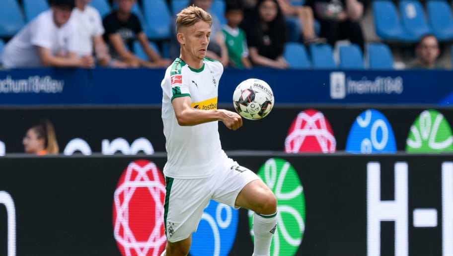 BOCHUM, GERMANY - JULY 22: Torben Muesel of Borussia Moenchengladbach controls the ball during the H-Hotels Cup match between Borussia Moenchengladbach and Real Betis Sevilla  at Vonovia Ruhrstadion on July 22, 2018 in Bochum, Germany. (Photo by TF-Images/Getty Images)